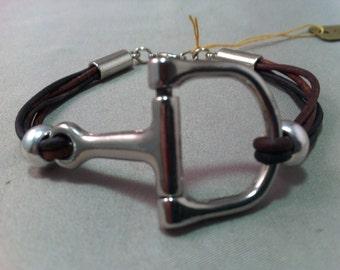 Two Toned Leather Snaffle Bit Bracelet, Bit Bracelet, Equestrian Snaffle bit Bracelet