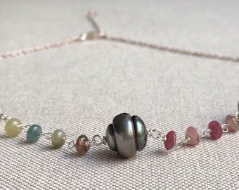 Tourmaline silver Tahitian Pearl Necklace / Tourmaline and Tahitian pearls necklace