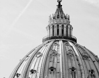 rome italy photography, black and white, europe photograph, architecture, church decor, st peters square, St Peters Basilica R11
