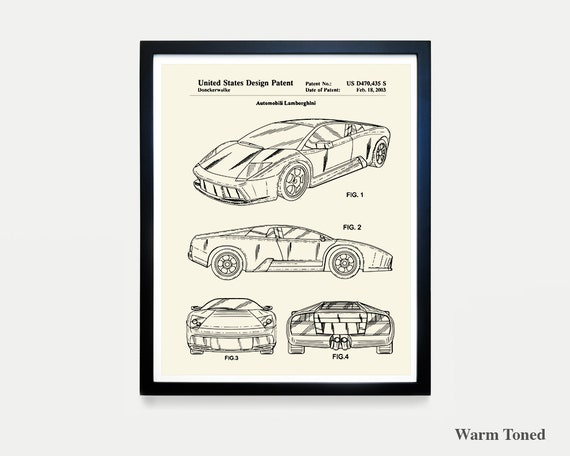 Lamborghini Patent Art - Lamborghini Poster - Lamborghini Art - Car patent - Automobile - Racing - Sports Car  Driving  Lamborghini Wall Art