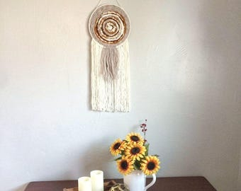 Circle weave, dream catcher, round weaving, 70's inspired, circular weaving, woven wall hanging, living room decor, wall decor, mothers day