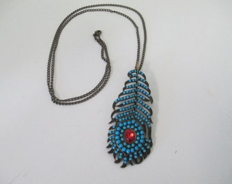 Vintage antiqued silver tone feather with tiny turquoise beads on a antiqued silver tone chain no markings