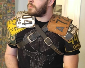 CUSTOM x2 - Fallout-Style Post Apocalyptic, Mad Max, Vintage License Plate Shoulder Armor w/ Bicep Guard