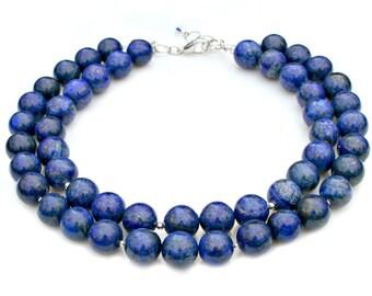 Blue Lapis Necklace STATEMENT Double Strand Semi Precious Gemstone Midnight Stars Lazuli Couture High Fashion Elegant by Mei Faith