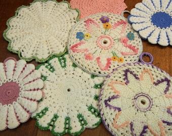 7 vintage pot holders, crochet, hot pads, trivets, midcentury, crochet