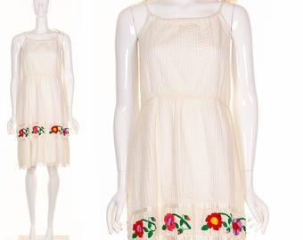 Vintage 60's Gypsy Wedding Dress Bohemian White Wedding Dress Beach Dress Colorful Hand Embroidered Flowers  Sundress Festival Dress