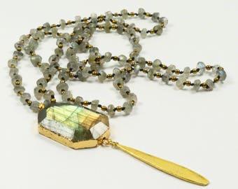 Labradorite Pendant , Labradorite Necklace ,Labradorite jewelry , Gold Labradorite Necklace ,Green Labradorite ,Pendant Necklace