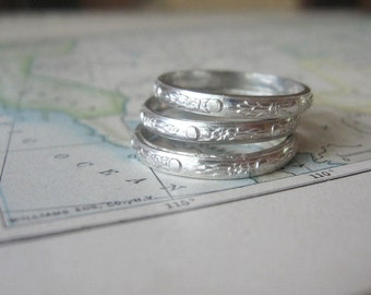 Stacking Rings Sterling Silver Moon Flowers Pattern Set of Three