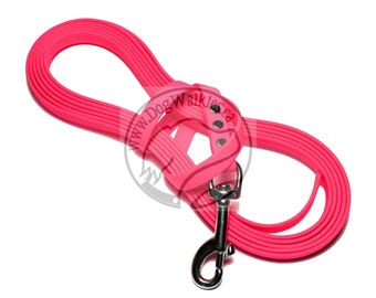 "Neon Hot Pink -   Waterproof Long Line - 1/2"" (12mm)wide Genuine Biothane - Tacking Line Recall Leash - Choice of hardware and length"