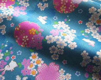 Japanese traditional Sakura and rabbit gold blue green 110 * 50 cm