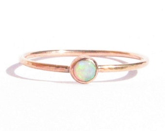 SALE!-Opal Solid Rose Gold Ring-Stacking Ring-Thin Gold Ring-Opal Engagement Ring-Opal Gold Ring-Opal Rose Gold-Gold Opal Ring-Made To Order
