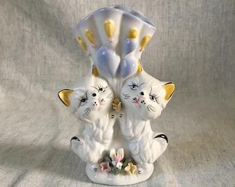 Vintage Ceramic Cat Planter, Kitsch Kitten Vase