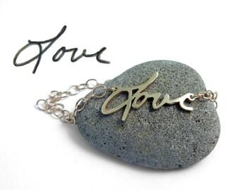 Gold Handwriting Bracelet   Custom Handwriting Gold Bracelet   Gold Love Bracelet