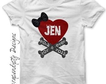 Rock and Roll Iron on Transfer - Crossbones Iron on Shirt PDF / Kids Girls Clothing Tops / Bow Heart Tshirt / Rock Shirt Design Printable
