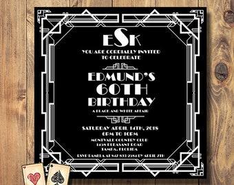 Elegant Birthday Invitation, Art Deco Invitation, Classic Black and White, Monogram Invitation