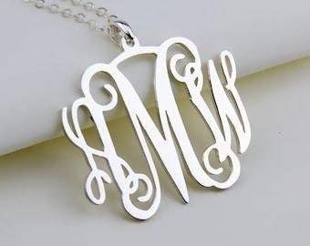 Monogram Necklace,Personalized necklace,3 Initials Necklace,Custom Necklace,silver Name Necklace,Christmas Gift ,Monogram Jewelry