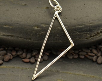 Sterling Silver, Silver Triangle Link,  Scalene Triangle, Silver Triangle Necklace, Triangle Pendant, Geometric Pendant, Silver Link Jewelry