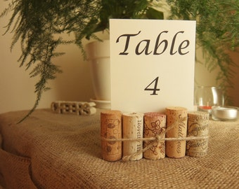 Wine Cork Table Number Holder - Wedding Table Numbers - Rustic Wedding Decor - Wine Country Decor - Table Number Holder Cork - Shabby Chic