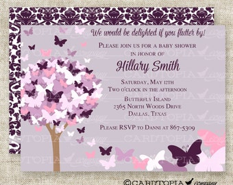 BUTTERFLY BABY SHOWER Invitations Pink Purple Butterfly Fairy Tale Butterfly Digital diy Printable Personalized - 175715639