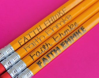 Set of 4 Personalized Pencils - Custom Pencils, Engraved Pencils, Personalized Pencils for Kids, Cute girly pencils--6025