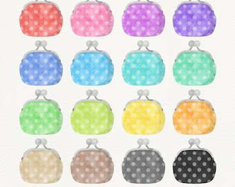 Coin Purse Clipart, Watercolor Clip Art