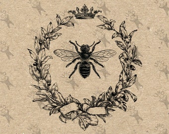 Vintage Queen Bee Crown Honeybee Collage illustration Instant Download Digital printable picture clipart graphic transfer burlap HQ300dpi
