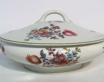 Vintage O P Co. Syracuse China Covered Vegetable Bowl in Old Haarlem (Green Trim)