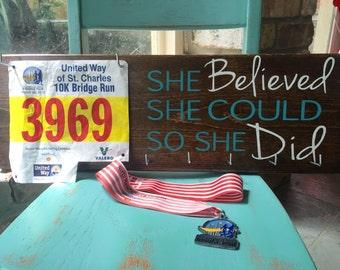 Great gift for runners! Race Medal Hanger & Race Bib Holder - She BELIEVED she could so she Did- marathons - triathlons- iron man