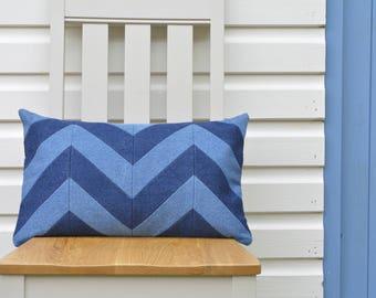 Beautiful Dark & Light Blue Denim Chevron Pillow Cover , Chevron Jeans Pillow Cover , Denim Cushion Cover , Denim Decor , Relaxed Jeans