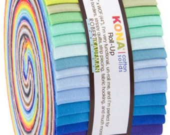"Kona Cotton New Colors 2017 JELLY ROLL from Robert Kaufman - 40 2.5""x44"" strips (2.8 yards) - RU-722-40"
