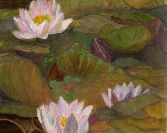 Waterlilies - Original French Painting on canvas flowers and lily pads Claude Monet Pond 8x8