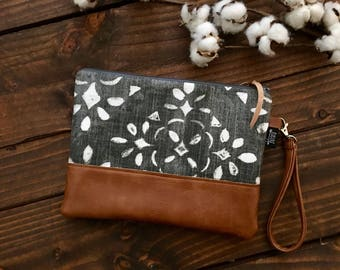 Grab N Go Wristlet Clutch - Stenciled Lace in Charcoal with Vegan Leather