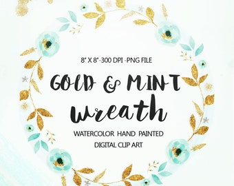 Watercolor Gold Wreath clipart, Wedding floral Clip art, Mint Flowers Wreath Clipart, wedding clip art, Watercolour Clip Art