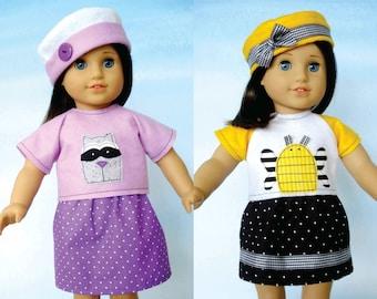 18 inch Doll Clothing Sewing Pattern -  Hats, Skirts and Raglan Sleeve Shirts - PDF e-Pattern