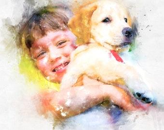 custom portrait, custom family, family portrait, custom couple, couple portrait, custom, customized, portrait, watercolor