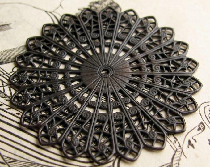 Sunburst circle filigree - 45mm - antiqued black brass, large round medallion flat filigree, center hole, round filigree, made in the USA