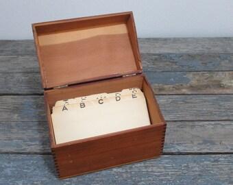 Wooden File Box, Vintage Wood Box, Recipe Box, Card File, Stash Box, Index Card File, Kitchen File, Desk Accessory, Storage Box