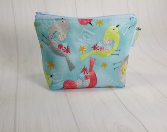 Believe You Can Birds Zipper Notions Pouch, Mini Zippered Wedge Bag, Craft Pouch NP0051
