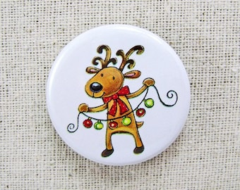Reindeer and lights - Pinback button - 1.25 inch round