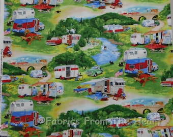 Vintage Travel Trailers Summer Campers Scenic BY YARDS Elizabeth's Studio Fabric