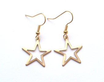 Gold Star Earrings, Hollow Stars, Gold Earrings, Choose Gold Plated or Gold Filled Wires