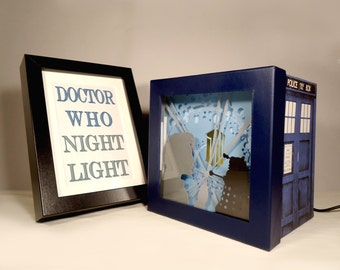 Doctor who night light, tardis shadow box, unique special gift, geek night light, home decor, doctor who birthday gift, tardis birthday gift