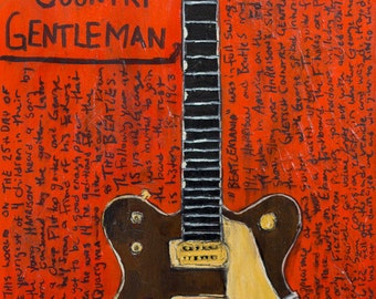 Beatlemania | Vintage Guitar Art. George Harrison 1962 Gretsch Country Gentleman guitar art. Print. The Beatles Ed Sullivan