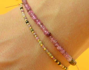 Tiny tourmaline  and vermeil  beads   bracelet
