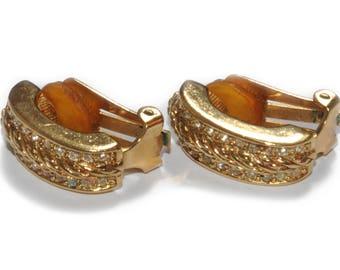 CHRISTIAN DIOR · Vintage · Halbe Creolen Ohrringe Clips · golden · Swarovski Kristall Strass