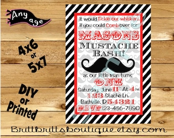 mustache baby birthday Invitation mustache bash Invitations Custom imagination Birthday invite 4x6 or 5x7 Digital OR Printed with envelopes