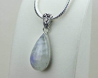 2.3 Inch Rainbow MOONSTONE 925 S0LID Sterling Silver Pendant + 4MM Snake Chain & Free Express Shipping p3120