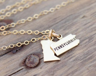 State Charm Necklace, Small Gold State Charm, Going Away Gift, State Charm Jewelry, State Shaped Charms, Gift For Her, Home Sweet Home