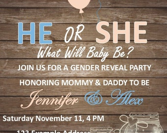 Gender Reveal Party Invitation Digital File