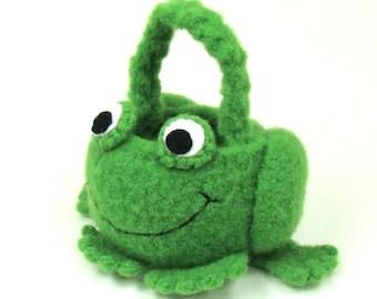 Frog Mini Basket Felted Crochet Pattern PDF INSTANT DOWNLOAD